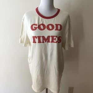 """Junk Food """"Good Times"""" white T - womens large"""